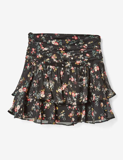 jupe fleuri à volants noire
