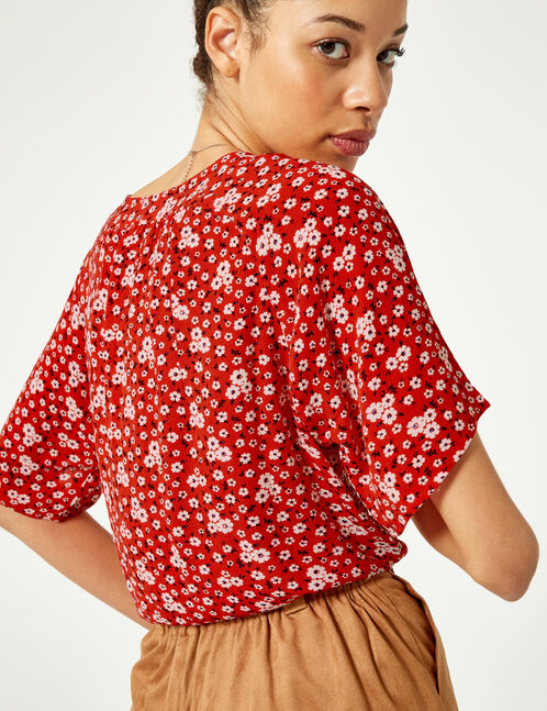 Red tie-fastening floral blouse