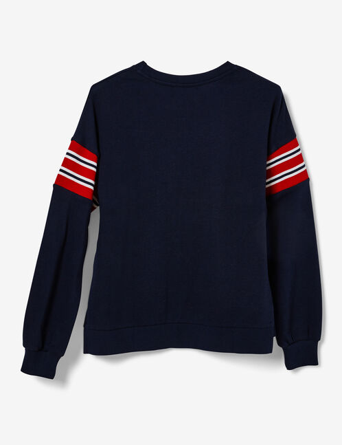sweat avec rayures bleu marine, blanches et rouge