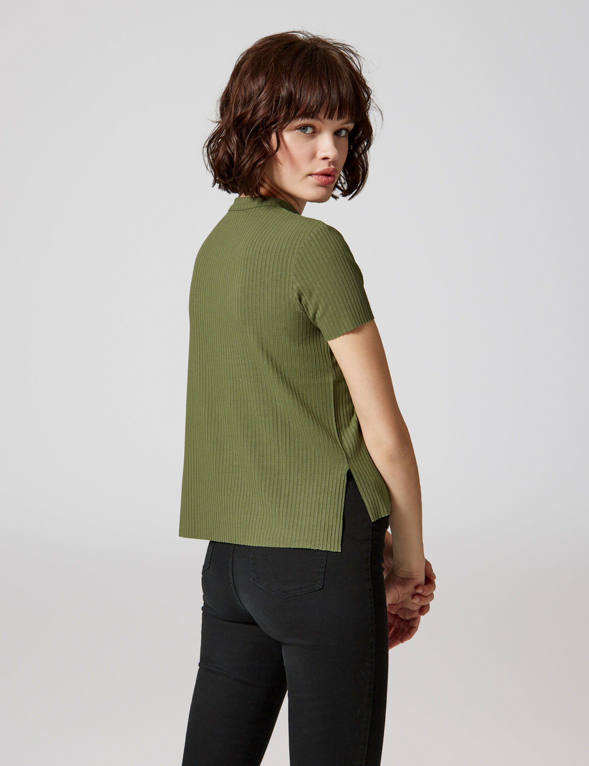Khaki T-shirt with buckle detail