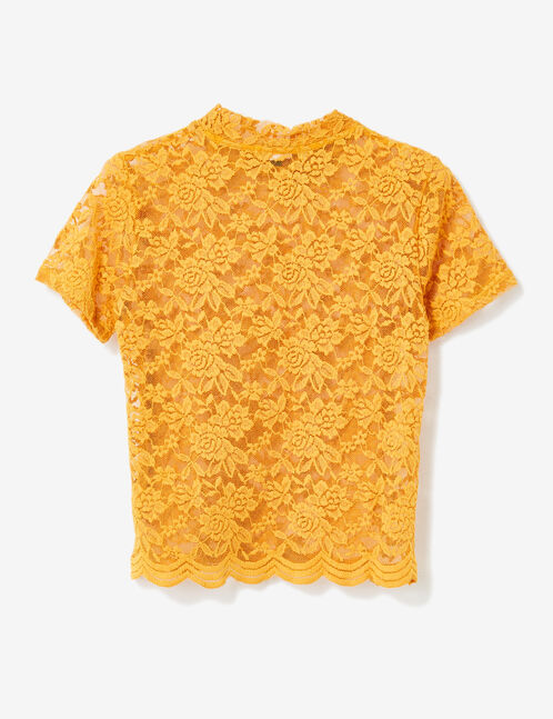 tee-shirt en dentelle ocre