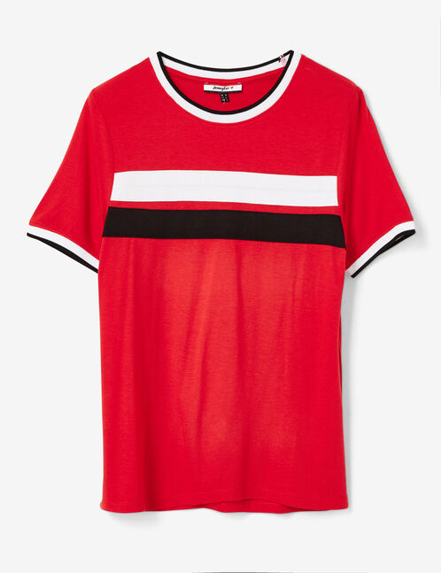 Red top with stripe detail