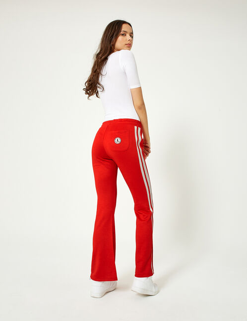 Red and white flared joggers