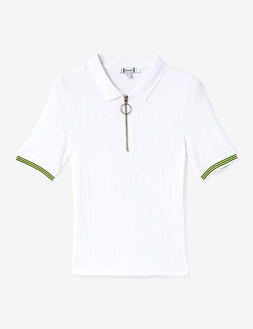 tee-shirt polo zippé blanc