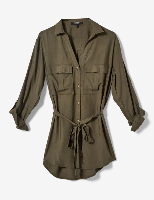Long khaki shirt with trim detail
