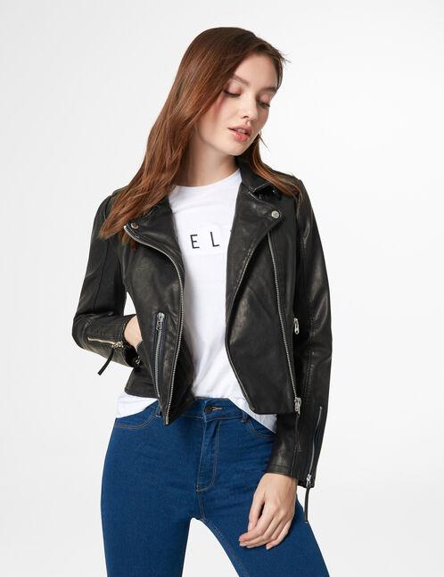 Black biker jacket with zip detail