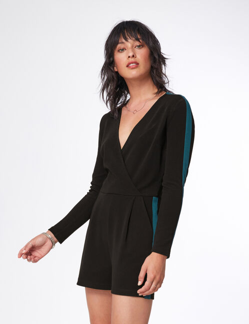 Black and green playsuit with stripe detail