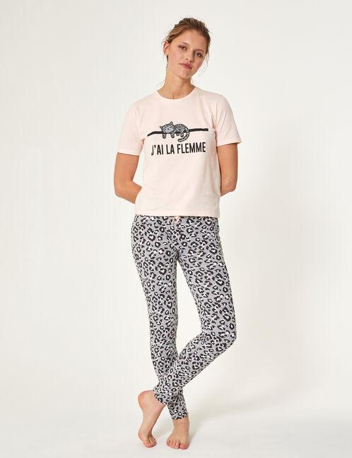 set pyjama à message rose clair et noir
