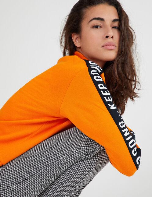 sweat zippé à message orange