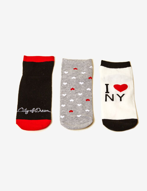 chaussettes fantaisies noires, rouges, blanches et grises