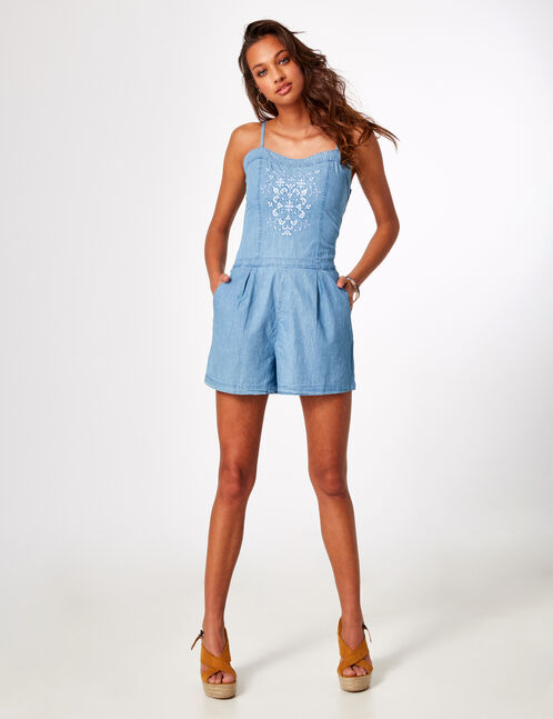 Light blue embroidered playsuit