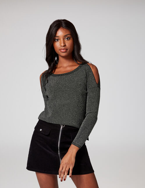 Grey and silver cold-shoulder jumper