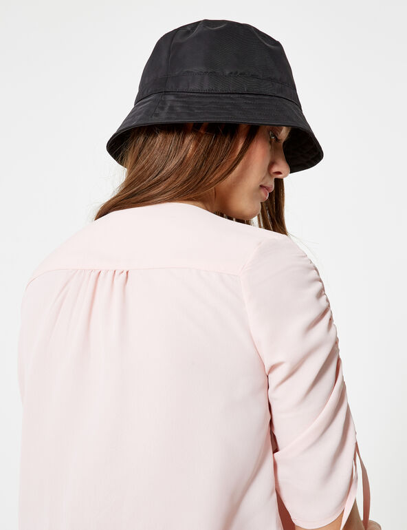 Light pink blouse with gathered sleeve detail