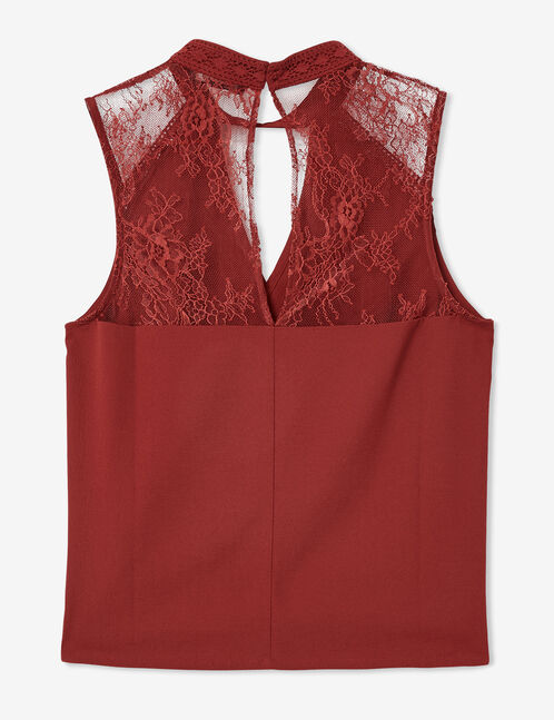 Burgundy mixed fabric blouse