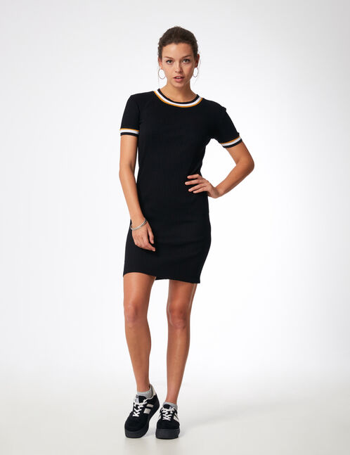Black dress with striped edging detail
