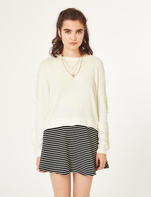 jupe patineuse rayée noire et blanche