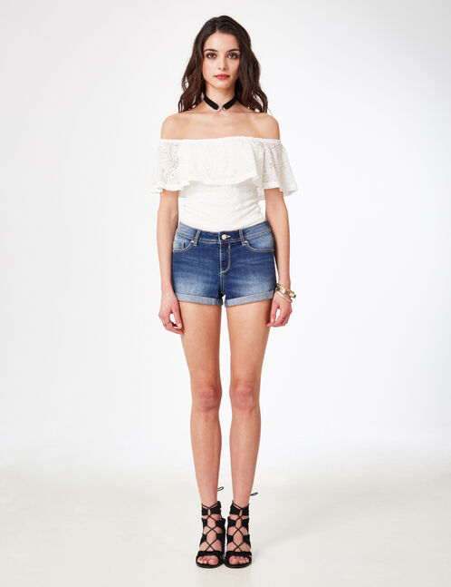 Medium blue denim shorts