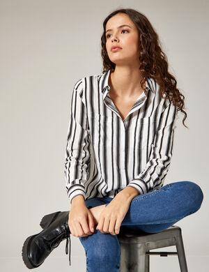 chemise à rayures écrue et noire