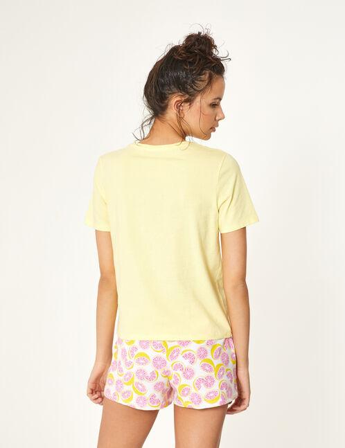set pyjama pamplemousse jaune clair, blanc et rose clair