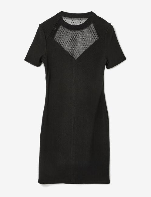 Black mixed fabric dress