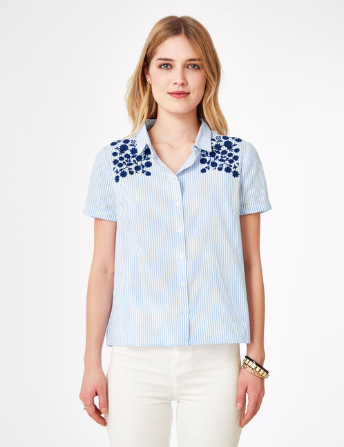 Light blue and white striped shirt with embroidered detail