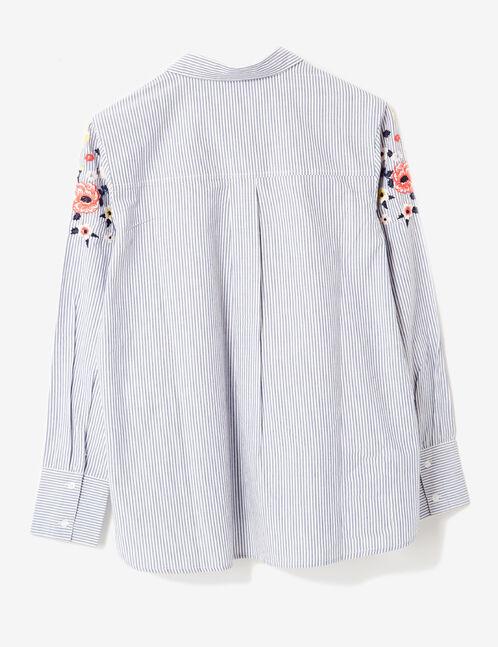 chemise rayée brodée bleu clair et blanc