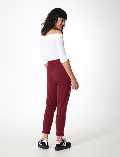 pantalon en crêpe bordeaux