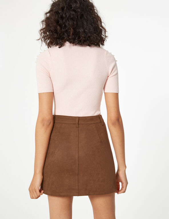 Buttoned faux-suede skirt