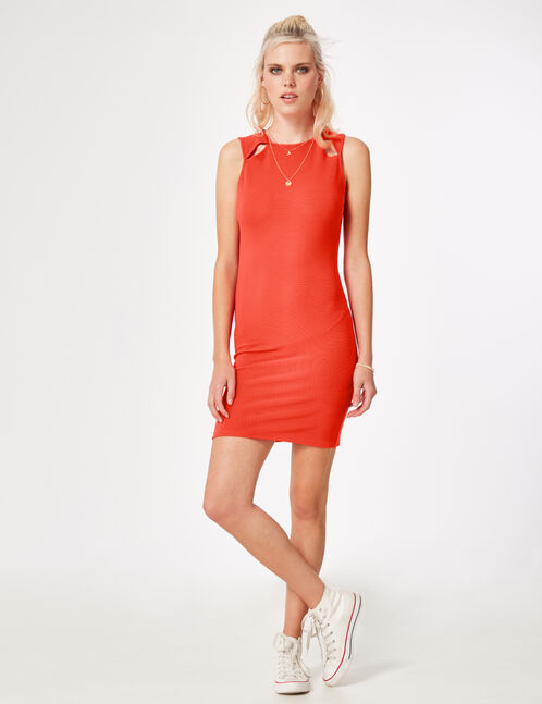 Red fitted dress with open detail
