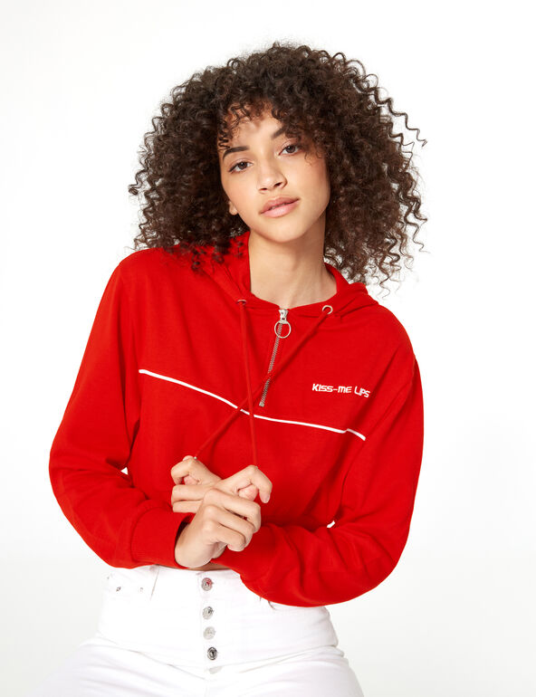Red and white cropped zip-up hoodie