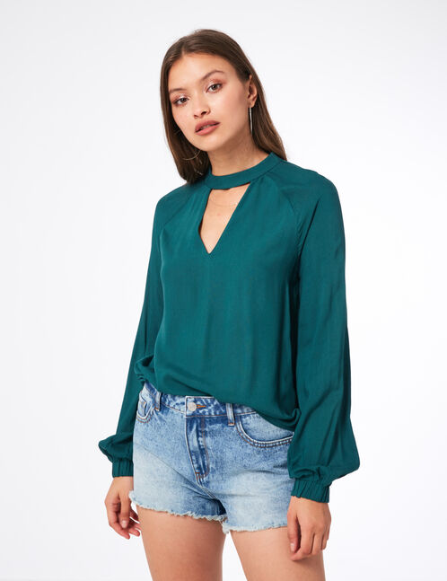 Green blouse with open detail