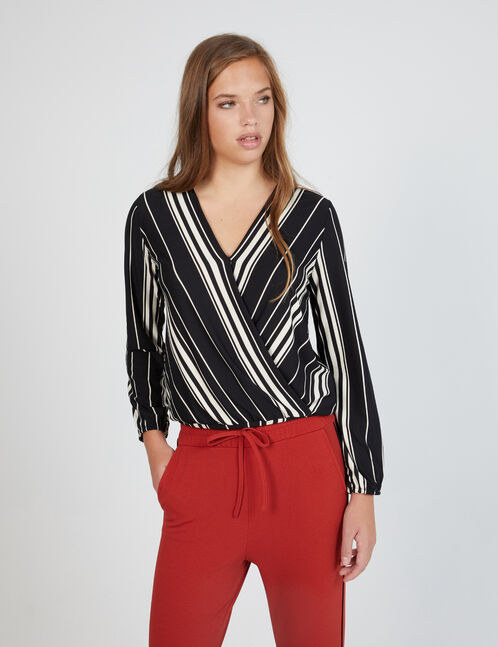 Black and white striped wrap top