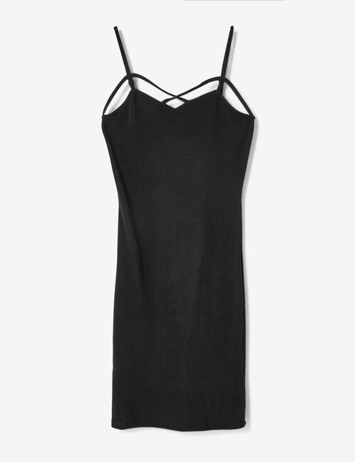 robe tube avec liens noire