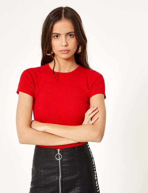 tee-shirt côtelé rouge