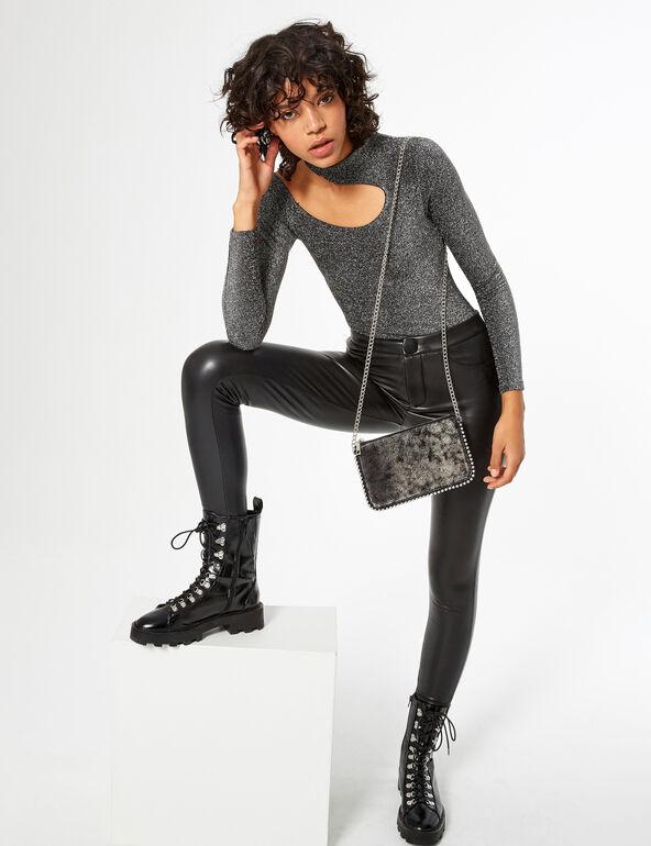 Silver asymmetric bodysuit