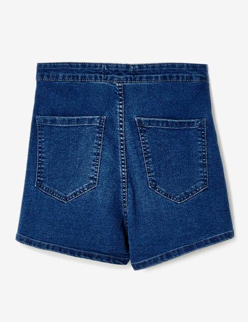 Dark blue high-waisted jegging shorts