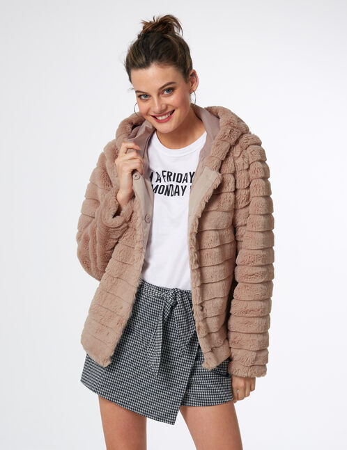 Light pink faux fur coat