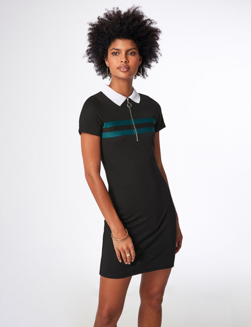 Black and green sporty dress