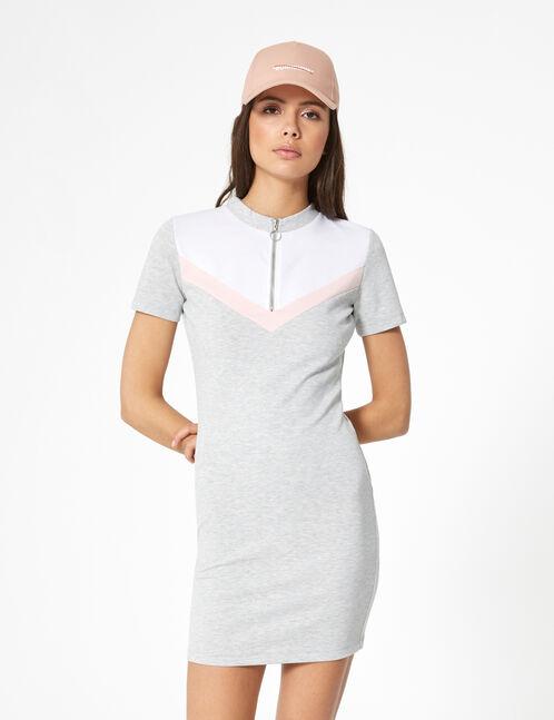 robe zippée avec chevrons grise clair, rose et blanche