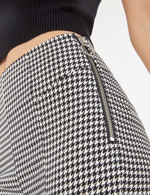 houndstooth trousers with zip detail