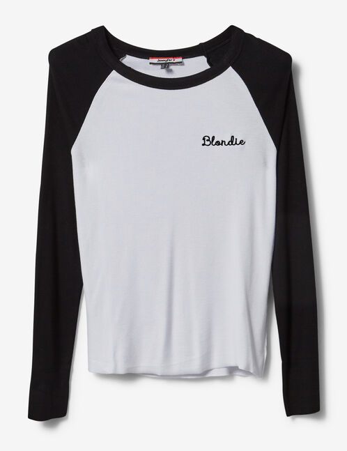 "White and black two-tone ""blondie"" top"