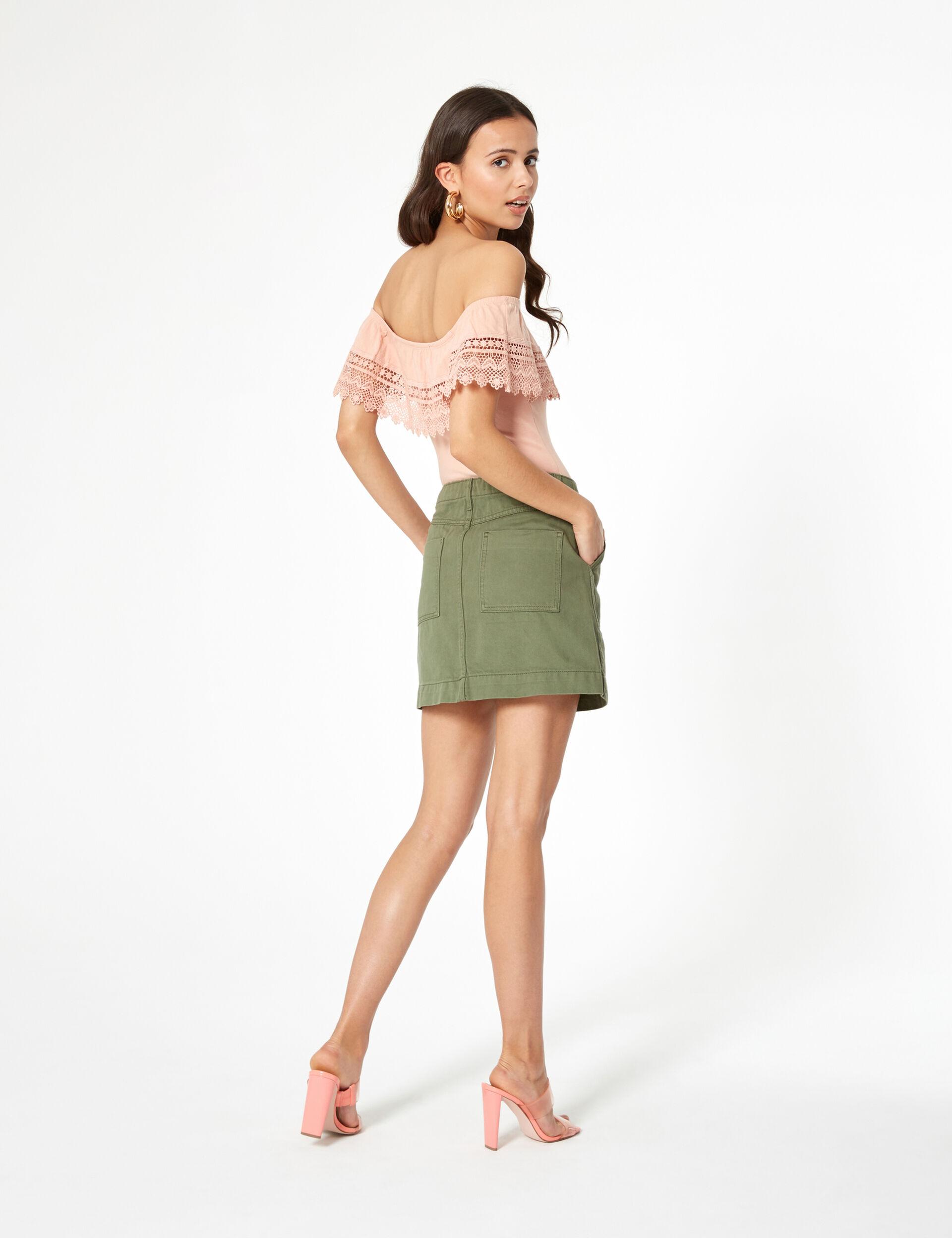 Khaki zipped skirt