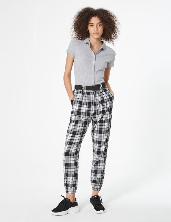 Pantalon cargo à carreaux