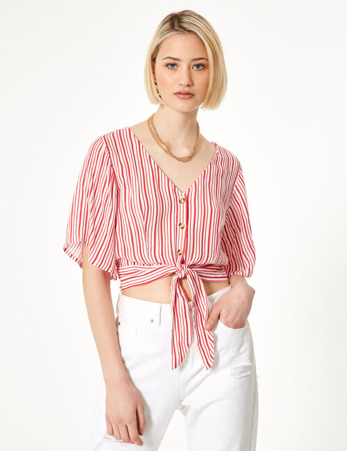 Red and ochre striped buttoned shirt