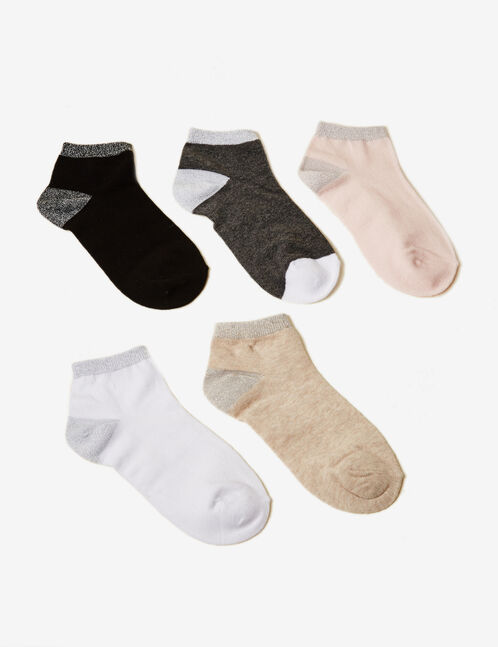 Black, grey, white, beige and pink socks with lurex detail