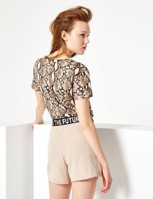 Beige and brown python print T-shirt