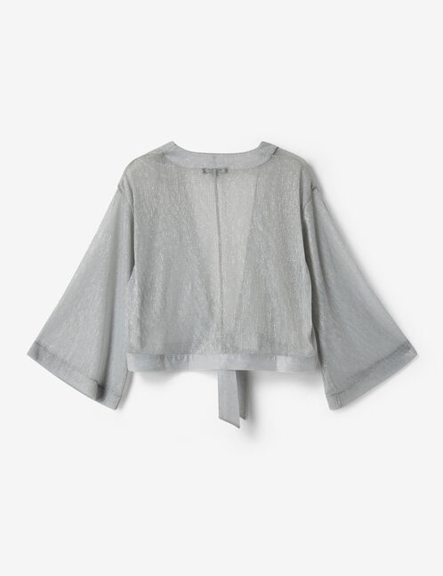 Cropped silver kimono with lurex detail