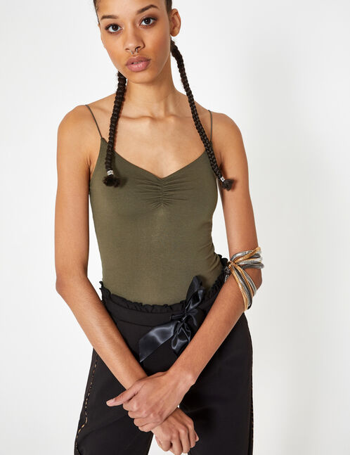 Khaki camisole with gathered detail