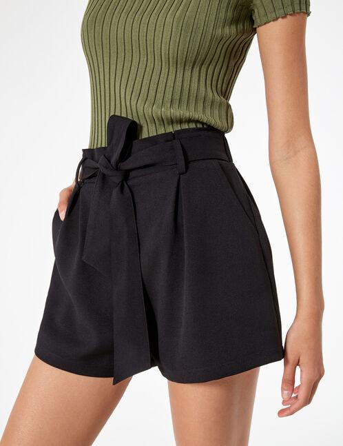 short avec ceinture à nouer noir