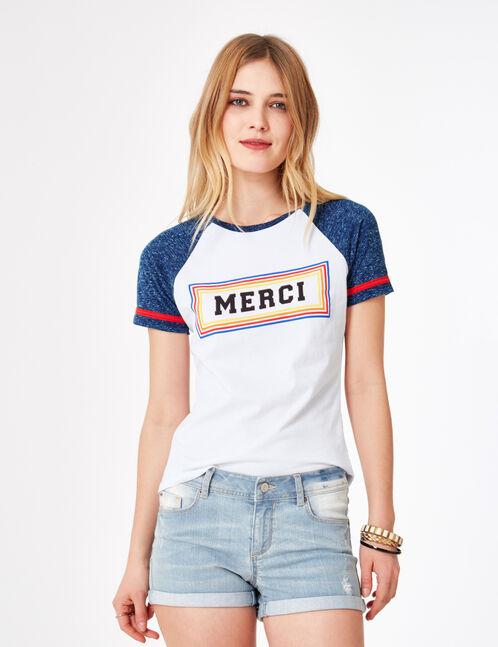 tee-shirt bicolore à message blanc et bleu chiné